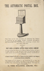 Advert for the Post Card & Stamped Letter Public Supply Company's automatic postal box